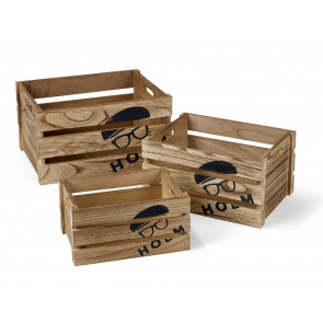 HOLM Wooden boxes 3 pcs. brown